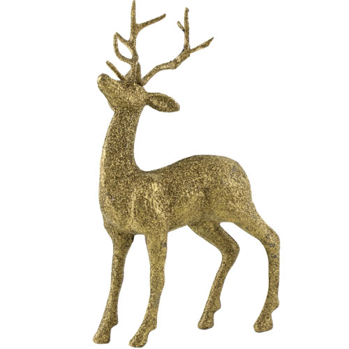 Gold Glittered Stag Christmas Decoration 26cm