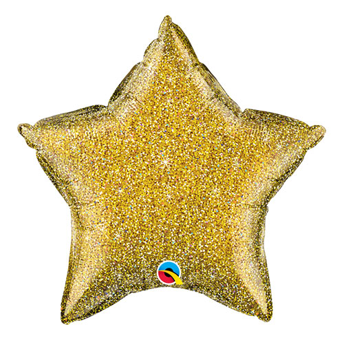 Gold Glittergraphic Star Foil Helium Qualatex Balloon 51cm / 20 in