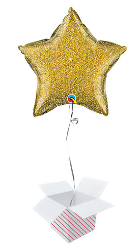 Gold Glittergraphic Star Foil Helium Qualatex Balloon - Inflated Balloon in a Box