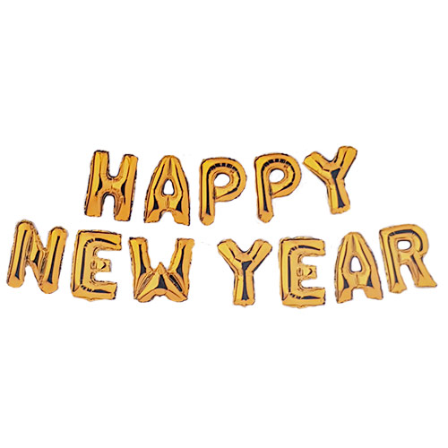 Gold HAPPY NEW YEAR Air Fill Foil Letter Balloon Kit 34cm Product Image