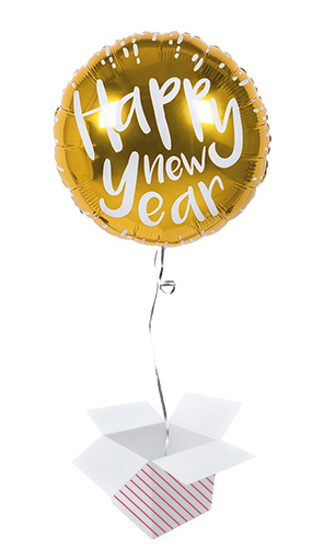 Gold Happy New Year Round Foil Helium Balloon - Inflated Balloon in a Box