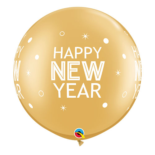 Gold Happy New Year Round Jumbo Latex Qualatex Balloons 76cm / 30 in - Pack of 2 Product Image