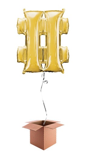 Gold Hashtag Supershape Foil Helium Balloon - Inflated Balloon in a Box Product Image