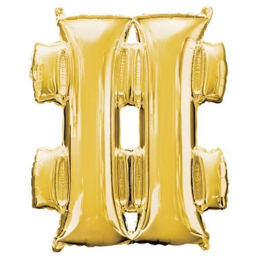 Gold Hashtag Helium Foil Giant Balloon 83cm / 33 in