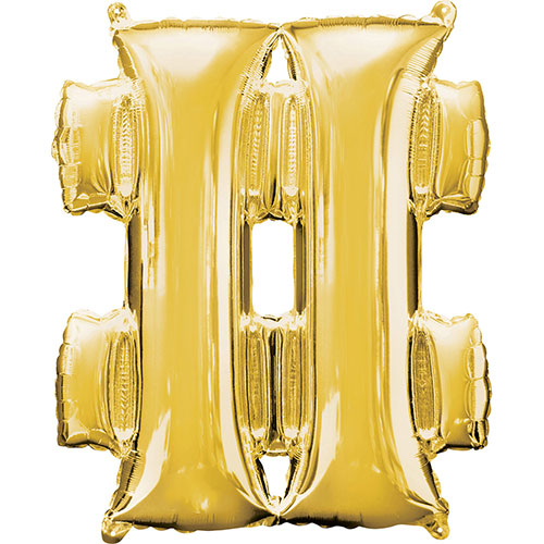 Gold Hashtag Symbol Air Fill Foil Balloon 40cm / 16 in
