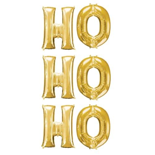 Gold HO HO HO Christmas Small Air Fill Balloon Kit Product Image