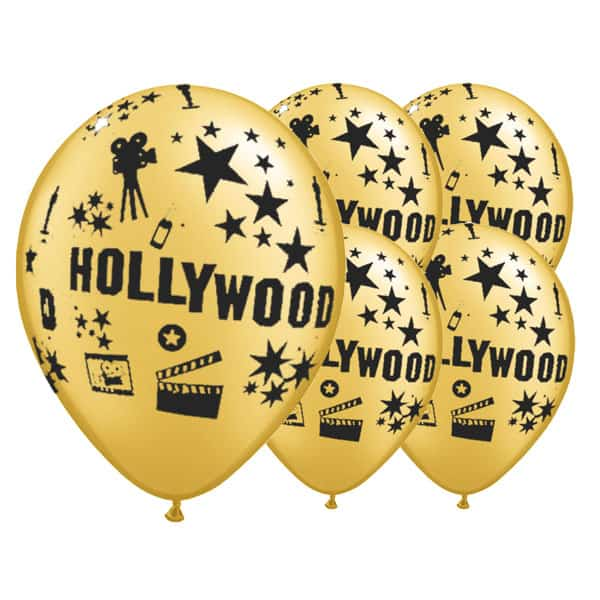Gold Hollywood Theme Latex Balloons - 12 Inches / 30cm - Pack of 6