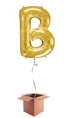 Gold Letter B Helium Foil Giant Balloon - Inflated Balloon in a Box Product Image