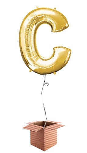 Gold Letter C Helium Foil Giant Balloon - Inflated Balloon in a Box Product Image