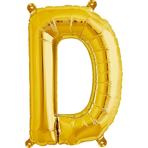 Letter D Gold Air Fill Foil Balloon 40cm / 16 in Product Image