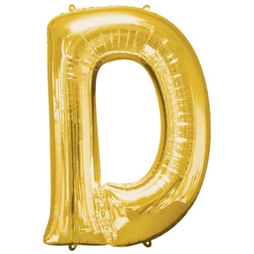 Gold Letter D Air Fill Foil Balloon 40cm / 16Inch Product Image