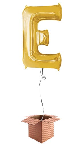 Gold Letter E Helium Foil Giant Balloon - Inflated Balloon in a Box Product Image