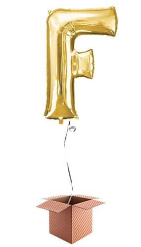 Gold Letter F Helium Foil Giant Balloon - Inflated Balloon in a Box Product Image
