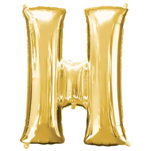 Gold Letter H Air Fill Foil Balloon 40cm / 16Inch Bundle Product Image