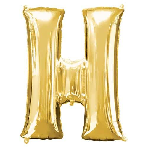 Gold Letter H Helium Foil Giant Balloon 81cm / 32 in Product Image