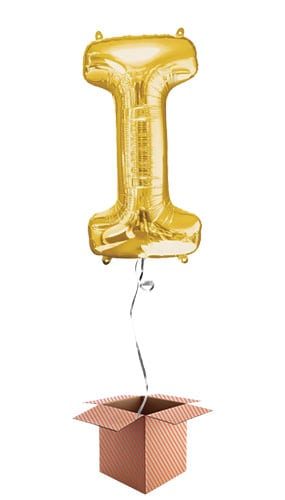 Gold Letter I Helium Foil Giant Balloon - Inflated Balloon in a Box Product Image