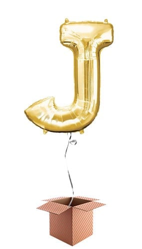 Gold Letter J Helium Foil Giant Balloon - Inflated Balloon in a Box Product Image