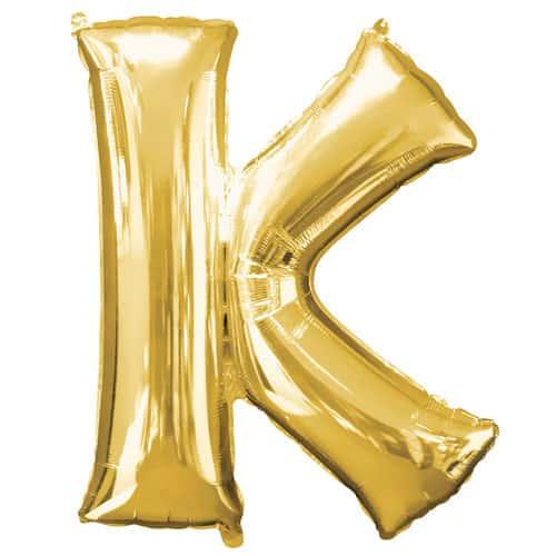 Gold Letter K Air Fill Foil Balloon 40cm / 16Inch Bundle Product Image
