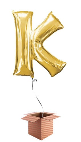Gold Letter K Helium Foil Giant Balloon - Inflated Balloon in a Box Product Image