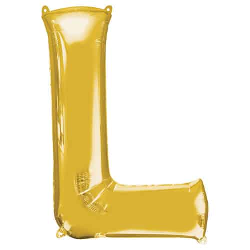Gold Letter L Air Fill Foil Balloon 40cm / 16Inch Bundle Product Image