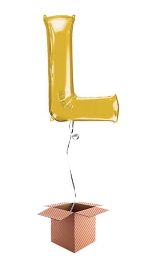 Gold Letter L Helium Foil Giant Balloon - Inflated Balloon in a Box Product Image