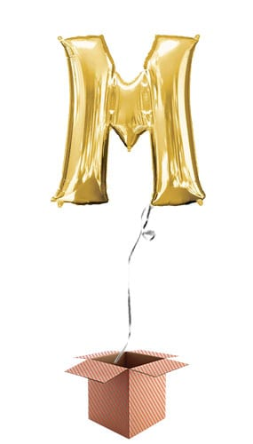 Gold Letter M Helium Foil Giant Balloon - Inflated Balloon in a Box Product Image