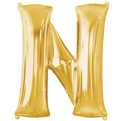 Gold Letter N Air Fill Foil Balloon 40cm / 16Inch Bundle Product Image