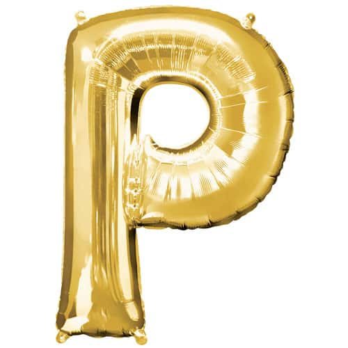 Gold Letter P Air Fill Foil Balloon 40cm / 16Inch Bundle Product Image