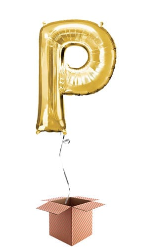 Gold Letter P Helium Foil Giant Balloon - Inflated Balloon in a Box Product Image