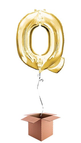 Gold Letter Q Helium Foil Giant Balloon - Inflated Balloon in a Box Product Image