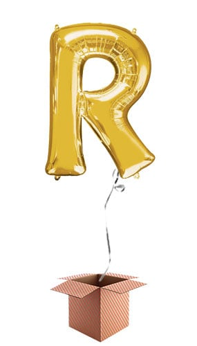Gold Letter R Helium Foil Giant Balloon - Inflated Balloon in a Box Product Image
