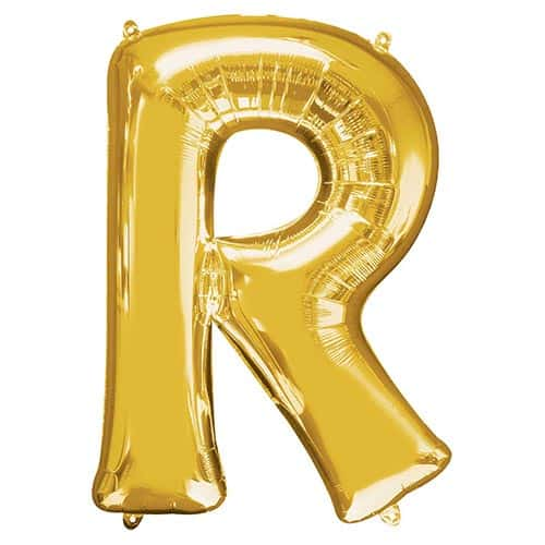 Gold Letter R Helium Foil Giant Balloon 81cm / 32 in Product Image