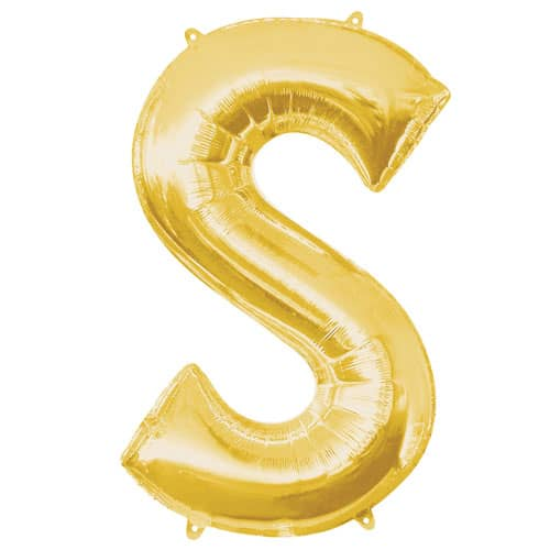 Gold Letter S Air Fill Foil Balloon 40cm / 16Inch Bundle Product Image