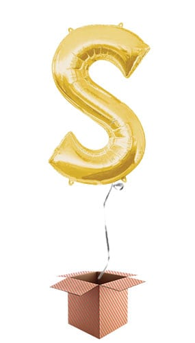 Gold Letter S Helium Foil Giant Balloon - Inflated Balloon in a Box Product Image