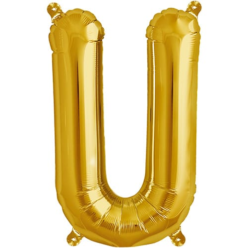 Letter U Gold Air Fill Foil Balloon 40cm / 16 in Product Image