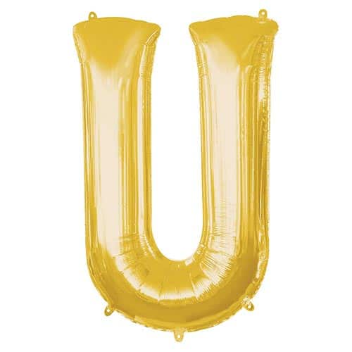 Gold Letter U Helium Foil Giant Balloon 83cm / 33 in Product Image