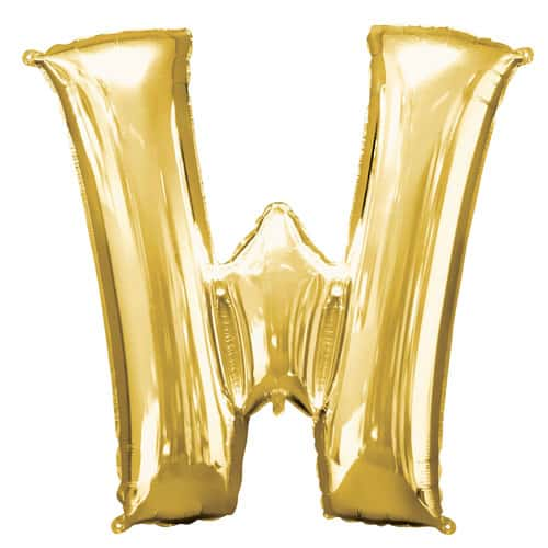 Gold Letter W Air Fill Foil Balloon 40cm / 16Inch Bundle Product Image