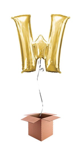 Gold Letter W Helium Foil Giant Balloon - Inflated Balloon in a Box Product Image