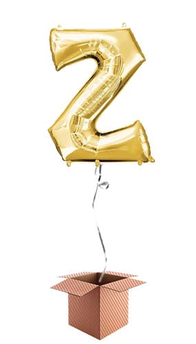 Gold Letter Z Helium Foil Giant Balloon - Inflated Balloon in a Box Product Image