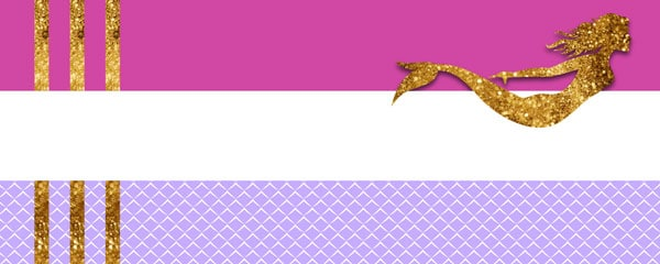 Gold Mermaid Design Small Personalised Banner - 4ft x 2ft