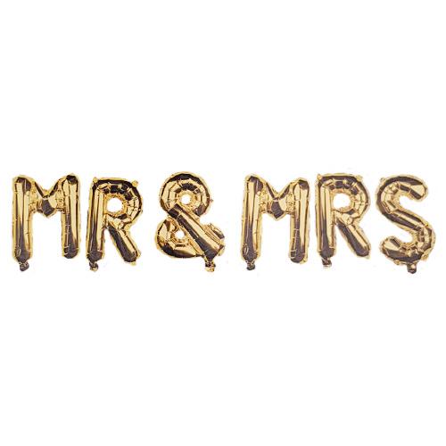 Gold MR & MRS Air Fill Foil Letter Balloon Kit 34cm
