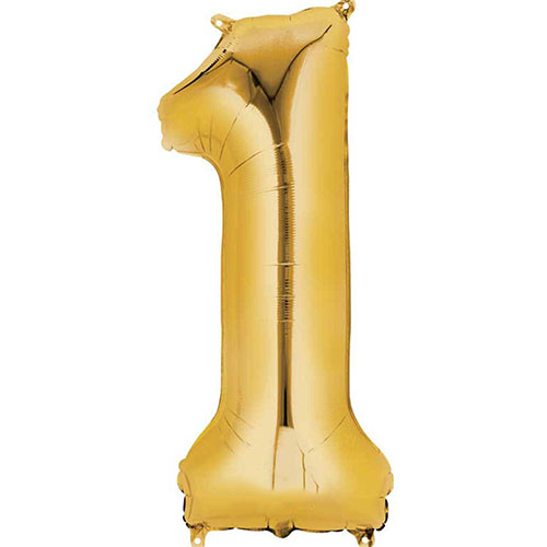 Gold Number 1 Air Fill Foil Balloon 40cm / 16 in Product Image