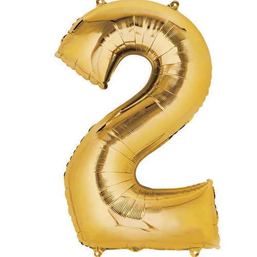 Gold Number 2 Air Fill Foil Balloon 40cm / 16 in Bundle Product Image