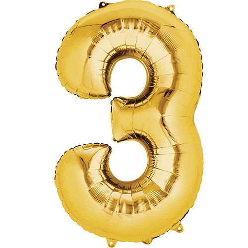 Gold Number 3 Air Fill Foil Balloon 40cm / 16 in Product Image