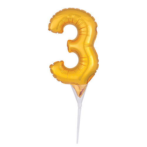 Gold Number 3 Air Fill Foil Balloon Cake Pick 30cm / 12Inch