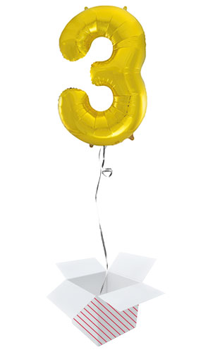 Gold Number 3 Helium Foil Giant Balloon - Inflated Balloon in a Box Product Image