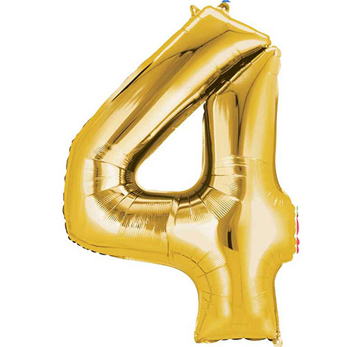 Gold Number 4 Air Fill Foil Balloon 40cm / 16 in Product Image