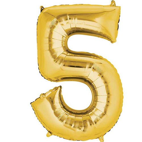 Gold Number 5 Air Fill Foil Balloon 40cm / 16 in Product Image