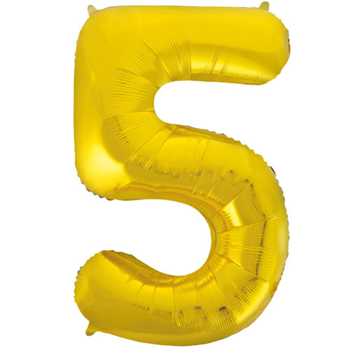 Gold Number 5 Helium Foil Giant Balloon 86cm / 34 in Bundle Product Image