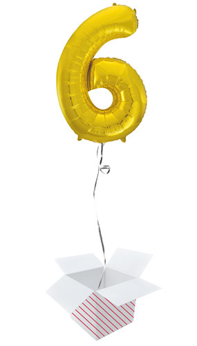 Gold Number 6 Helium Foil Giant Balloon - Inflated Balloon in a Box